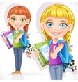 girl student with a backpack vector image vector image