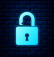 glowing neon open padlock icon isolated on brick vector image vector image