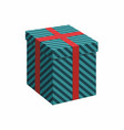 green gift box with ribbon on white vector image