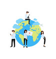 group of boys and girls around globe flat poster vector image