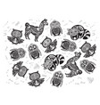 halloween set of sugar skull animals in contour vector image