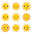 happy cute cartoon sun characters vector image