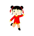 happy cute chinese girl wink graphic vector image vector image