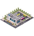 isometric bus station vector image vector image