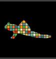 mudskipper fish mosaic color silhouette aquatic vector image vector image