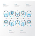 multimedia icons colored set with earmuff octave vector image vector image