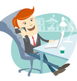 Office man sitting at his working desk with phone vector image vector image