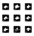 Pet dog icons set grunge style vector image vector image