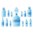 plastic water bottle set isolated on white vector image vector image