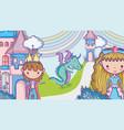 princesses in magic world cartoon man with vector image