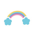 rainbow and clouds decoration icon design vector image vector image