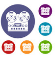 retro tape recorder icons set vector image vector image