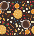 seamless pattern coffee fruits sweets vector image