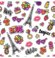 Seamless pattern with patch badges doodle vector image