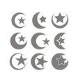 set monochrome icons with symbol islam vector image vector image