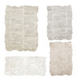 set torn newspaper pieces isolated on white vector image vector image