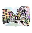 sketch drawing of Italy village landscape black vector image vector image