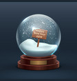 snow globe christmas holiday glass snowglobe with vector image