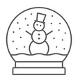 snow globe thin line icon christmas and glass vector image