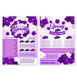 spring poster of violets and orchid flowers vector image
