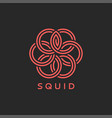 squid logo or octopus monogram overlay weaving vector image vector image