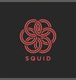 squid logo or octopus monogram overlay weaving vector image