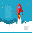 startup rocket launch in cartoon style vector image