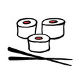 sushi on a plate japanese doodle food hand-drawn vector image
