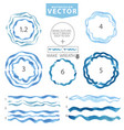 watercolor wavy brushescircle framecyanblue sea vector image vector image