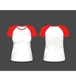 Womens raglan t-shirt in front and back views vector image vector image