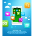 White smartphone with cloud of application icons vector image