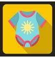 Blue baby bodysuit icon flat style vector image