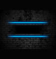 blue neon stripes on grunge brick wall background vector image vector image