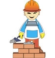 builder man is building a brick wall vector image vector image