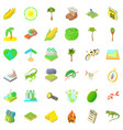 camping and nature icons set cartoon style vector image vector image