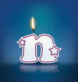 Candle letter n with flame vector image