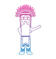 cartoon native indian american with traditional vector image vector image