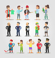 cartoon people professions set with musician vector image