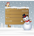 cartoon snowman with a owl and a snowy wooden sign vector image vector image