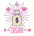 casino money bag cash fortune gambling cartoon vector image