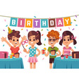 children birthday party kids celebrating vector image vector image