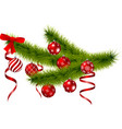 christmas branch with hanging christmas balls vector image vector image
