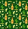 cinco de mayo seamless pattern with tequila and vector image vector image