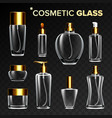 cosmetic glass set empty glass bottle vector image vector image