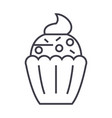 cupcake line icon sign on vector image vector image
