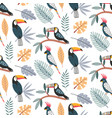 cute seamless pattern with exotic birds vector image