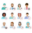 different doctors avatar face portraits hospital vector image vector image