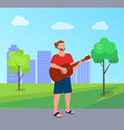 freedom performer playing guitar in park vector image