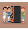 friends video gaming arcade machine and smartphone vector image