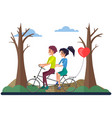 girl and guy on bike walk in park destroyed vector image
